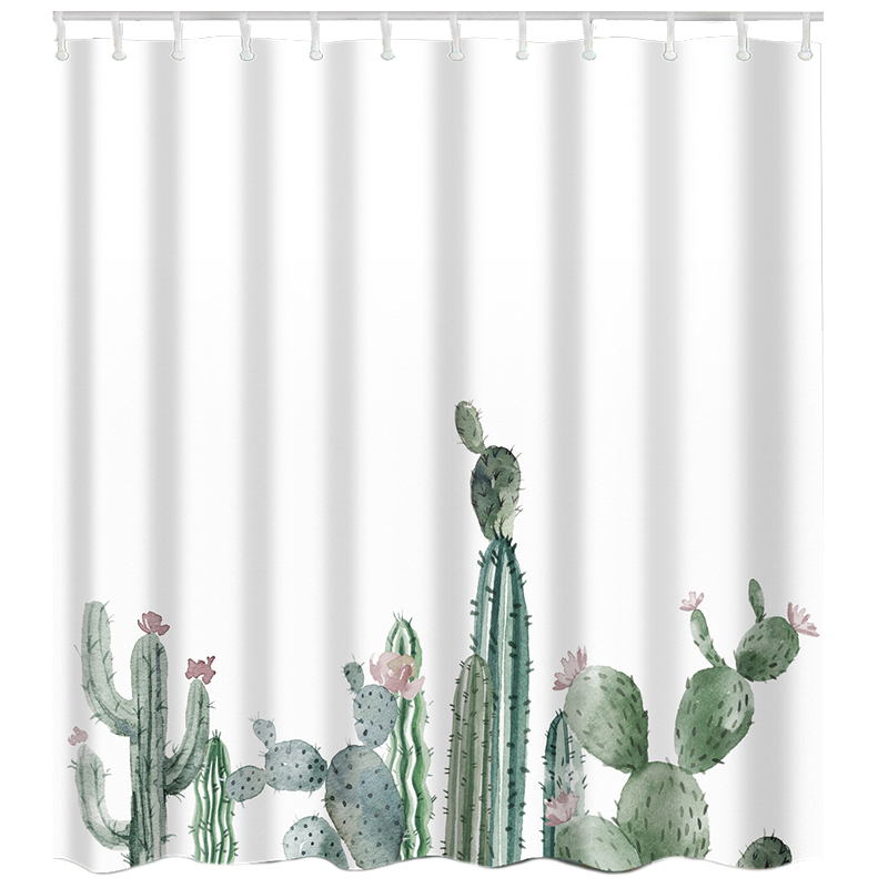 Tropical Cactus on Shelf Waterproof Fabric Shower Curtain Liner Bathroom Set