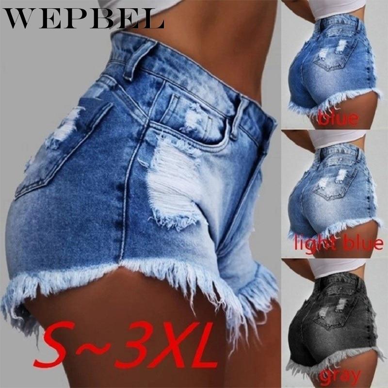 Wepbel High Wasit Jeans Fashion Sexy Skinny Denim Shorts Hole Tassel Short Pants Thin Plus Size Summer Club Wear Streetwear