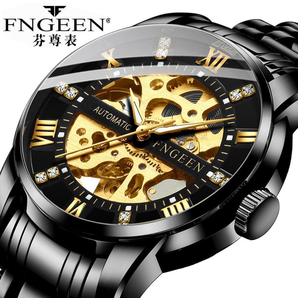 FNGEEN Relogio Masculino Men Stainless Steel Skeleton Automatic Mechanical Watch Mens Luminous Waterproof Sport Wristwatch