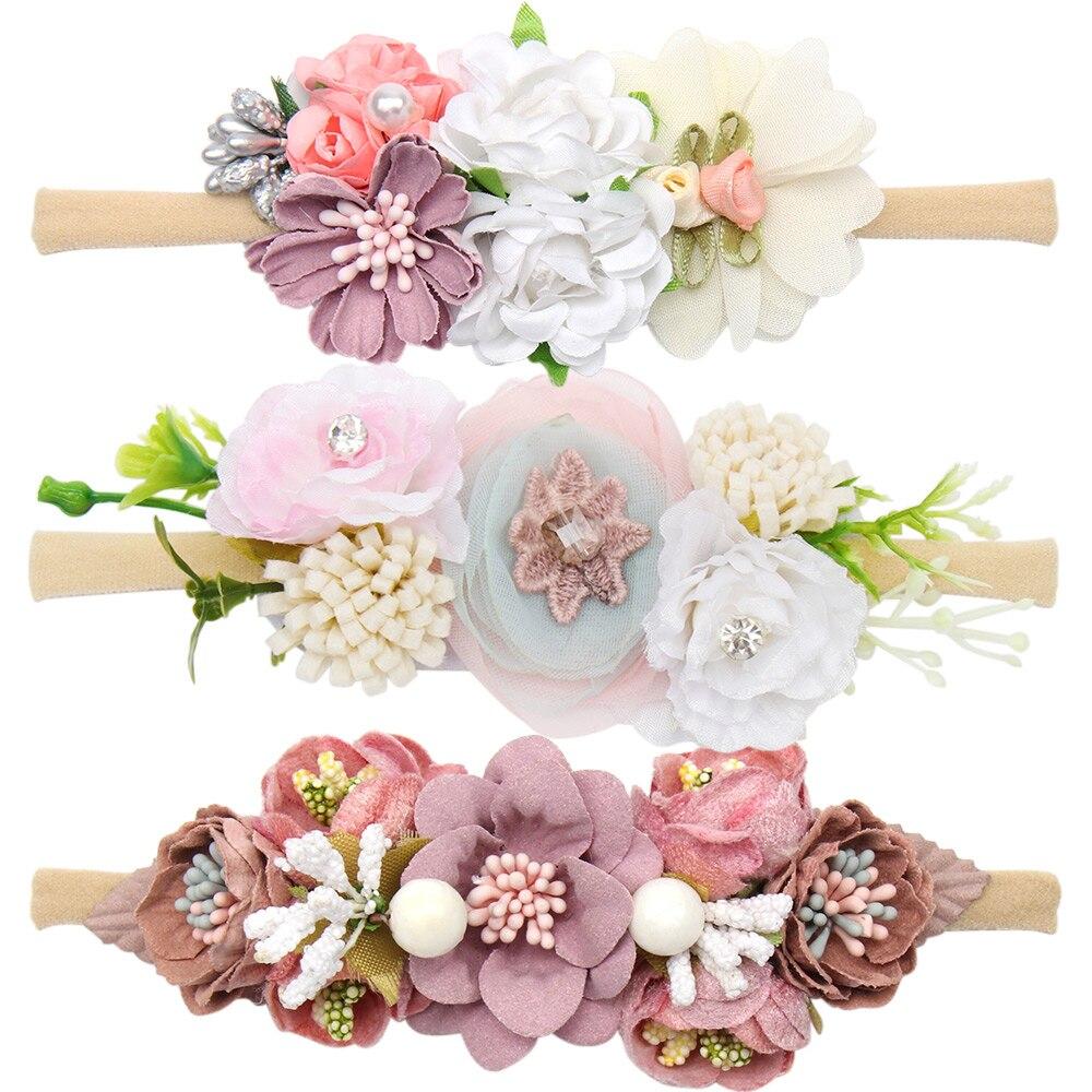 ncmama Flowers Nylon Headband for Baby Girls Newborn Handmade Floral Head Band Party Kids Headdress Photography Props Headwear