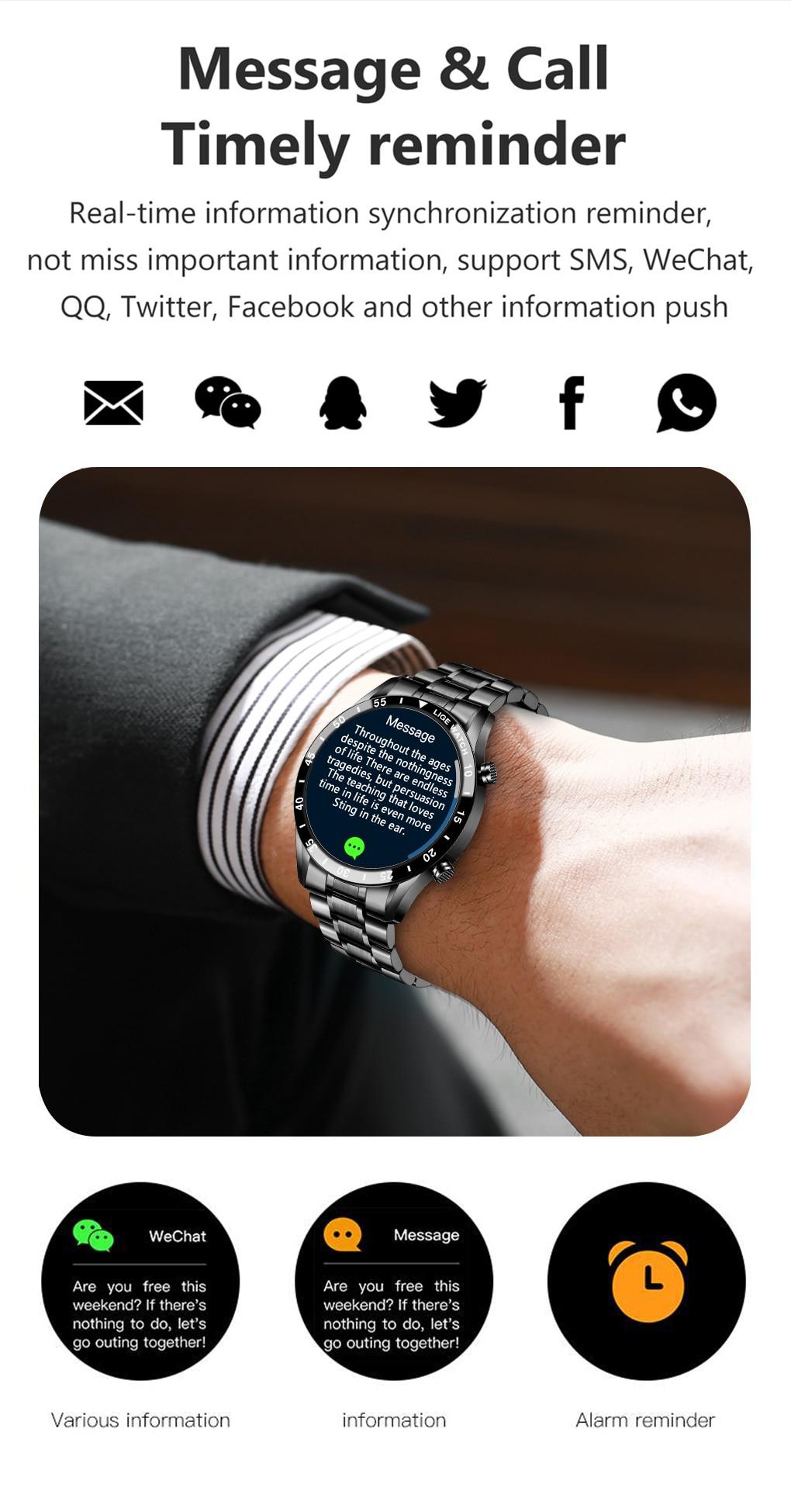 H2aa3672c71234a4c962255e145fa4d6cw LIGE 2021 Full circle touch screen steel Band luxury Bluetooth call Men smart watch Waterproof Sport Activity fitness watch+box