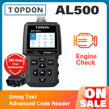 TOPDON AL500 Full OBD2 Scanner Car OBDII Diagnostic Tool Auto Code Reader Fault Code Read Engine Check Smog Test Turn Off IML