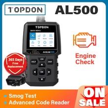 TOPDON AL500 전체 OBD2 스캐너 자동차 OBDII 진단 도구 자동 코드 리더 오류 코드 읽기 엔진 검사 스모그 테스트 IML 끄기