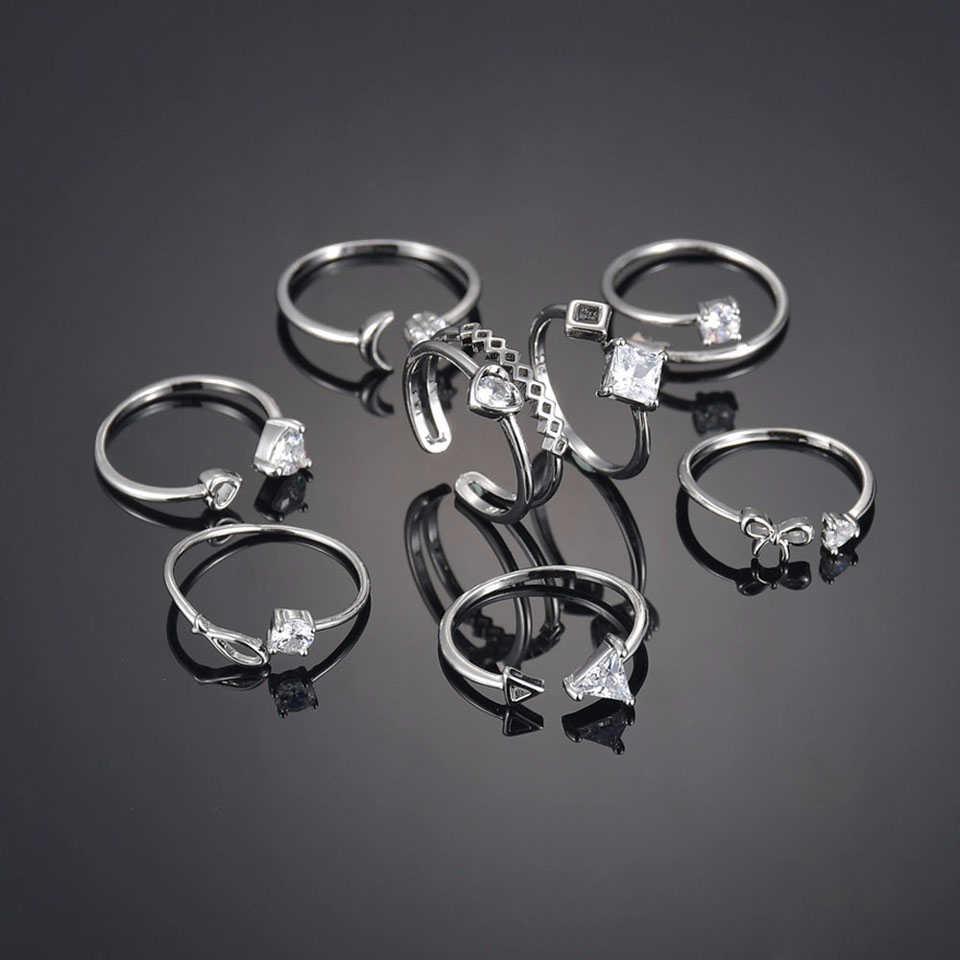 Bonito strass anel de cobre casais romântico coração de prata ecg anel de aço inoxidável com zircão unisex festa de casamento presente dos amantes