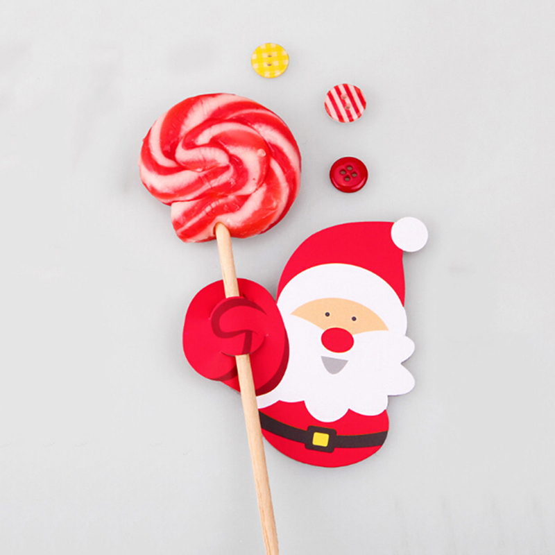 50 Pcs Santa Claus Lollipop Christmas Paper Card Candy Cute 2019 Xmas Good Natal DIY Decorations For Home Party Decor