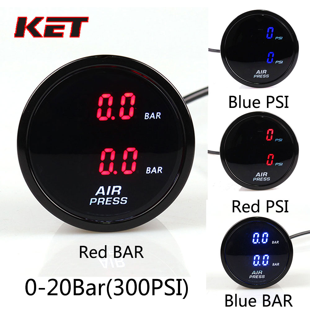 52mm 290PSI Dual Air Pressure Gauge Air Suspension Gauge With 2pieces 1//8NPT Electrical Sensors