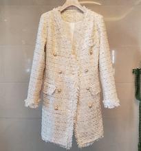Женское элегантное Модное Длинное твидовое пальто с кисточками