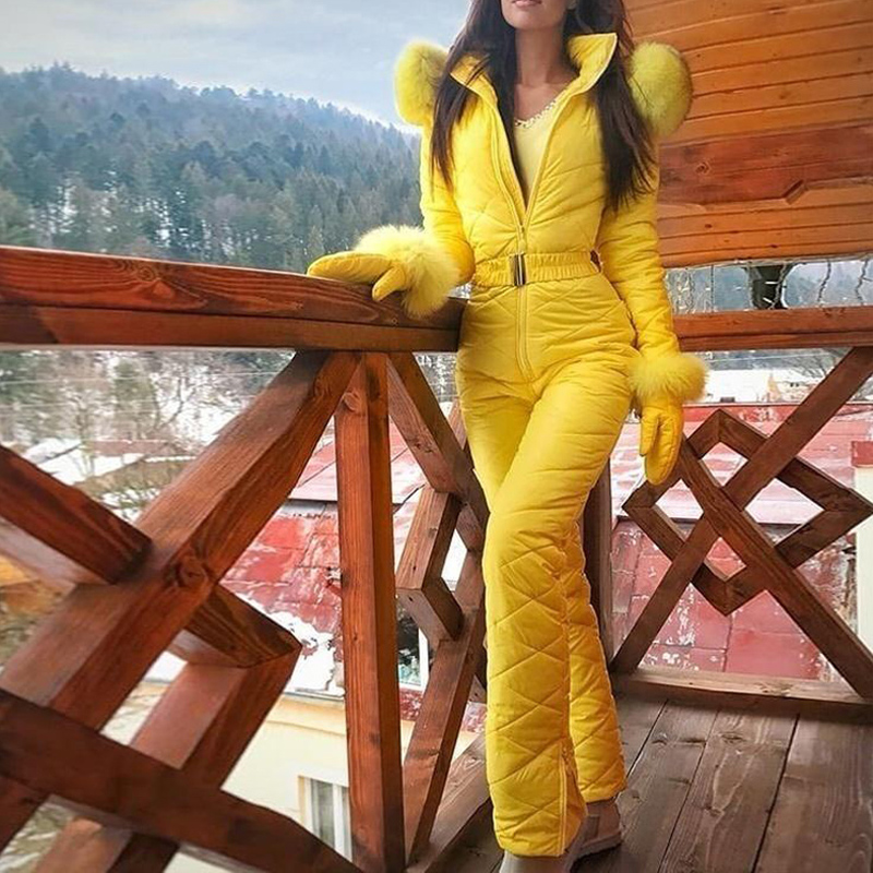 S-XXXL Women Jumpsuit With Glove Breathable Snowboard Jacket Skiing Suits Pant Sets Warm Bodysuits Outdoor Snow Suits
