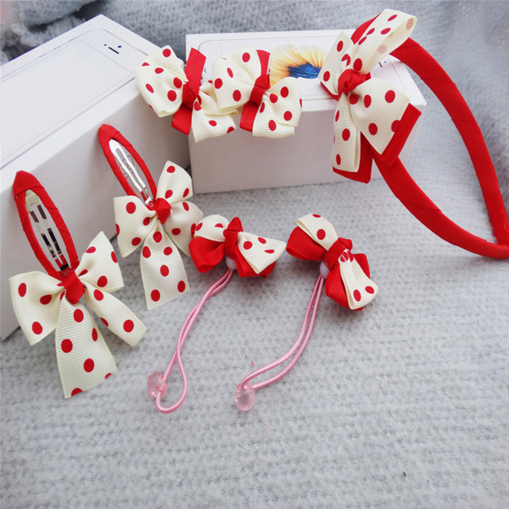 Dot  Bow Girls Hair Accessories Set For Kids Headbands Baby Girl Hair Clips Fairy Hair Rope Sets Birthday Present Gift Box