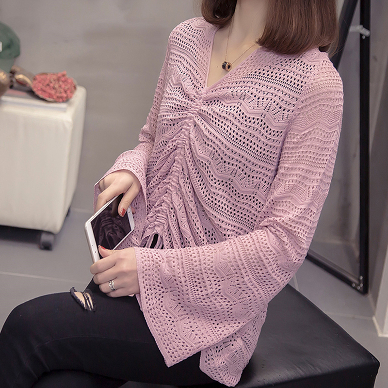 Plus Size Knitting Hollow Out Pullover 2020 Spring Novelty Korean V Neck Flare Sleeve Knitwear Oversized Lace Up Tunic Chic Tops