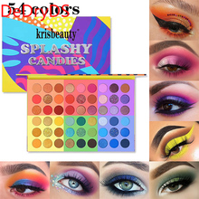 6 in 1 Splashy Candies 54 Colors Eye Shadow Palette Vivid Look Eyes Makeup Glitter Shimmer Matte Eyeshadow Powder DeDryDS