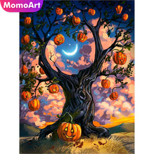 MomoArt Diamond Painting Pumpkin Tree Mosaic Halloween Embroidery Full Square/round Cross Stitch Home Decor