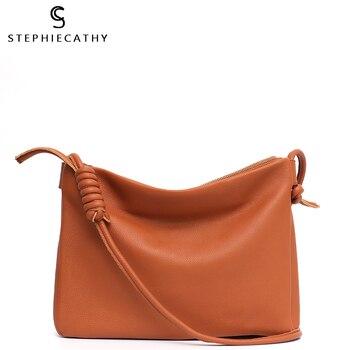 SC Genuine Leather Women Fashion Messenger Bag Design Ladies Luxury Leather Crossbody Shoulder Bag Long Belt Female Handbags Sac