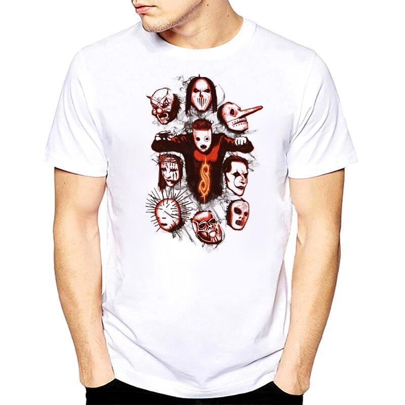 Rocksir T Shirt 2018 Summer Style Fashion Tshirt Men Rock Band Slipknot Print Hip Hop Tee Shirt Short Sleeve Summer White Tops