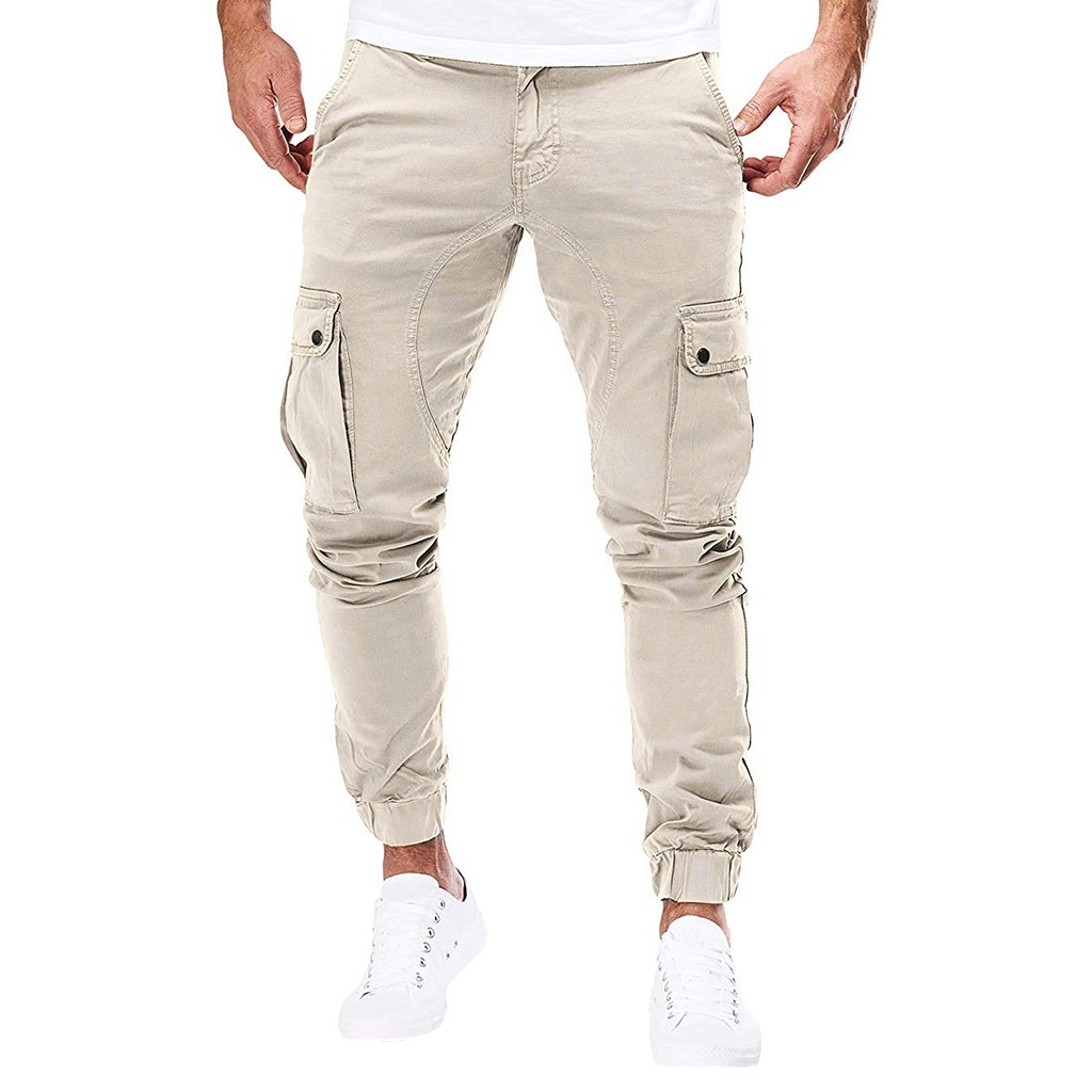 Men Pure Pocket Overalls Pocket Sport Work Casual Trouser Cargo Pants Sports Trousers Male Streetwear Pantalones Hombre Joggers