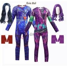 Novo crianças traje de halloween para meninas evie mal descendentes 3 fantasias cosplay com peruca crianças carnaval festa macacão catsuit