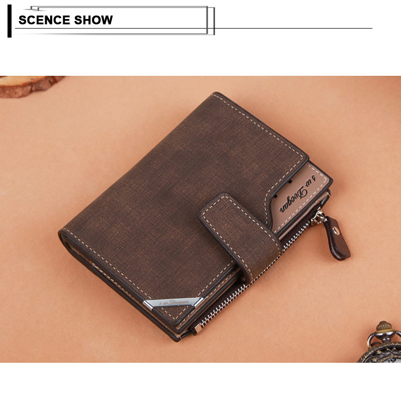 H2aa44d977a9e44e4999059d02d3b3142S - New Business men's wallet Short vertical Male Coin Purse casual multi-function card Holders bag zipper buckle triangle folding