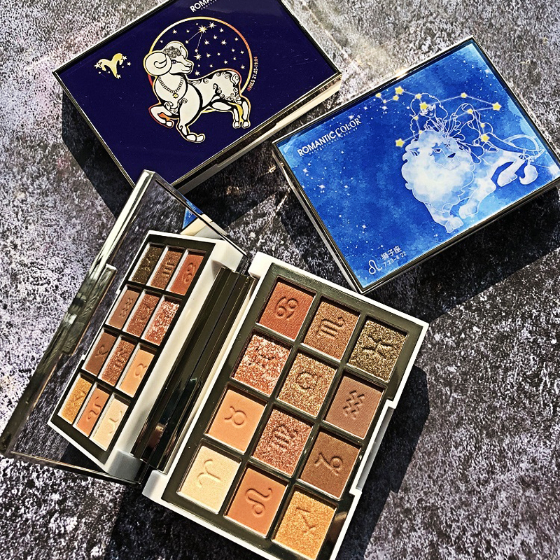 12-Color Chinese Zodiac Eye Shadow Romantic Color Star Story Pearly Lustre Matte Eyeshadow Compact Eye Shadow Color Palette