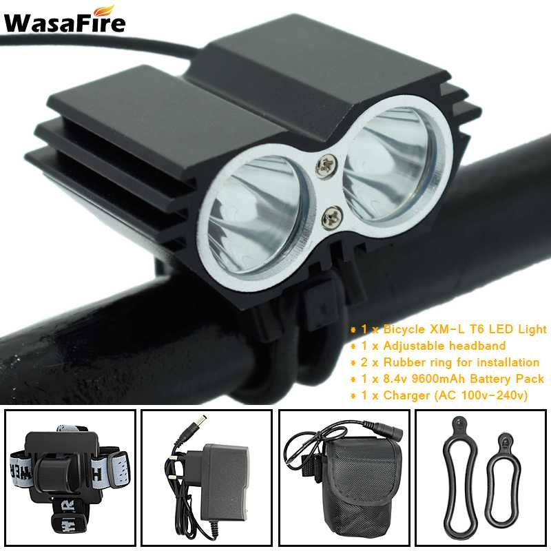 5000 Lumens XM-L T6 LED Bicycle Front Light Lamp Bike Headlight + Battery Pack & Charger Safety Warning Cycling Taillight