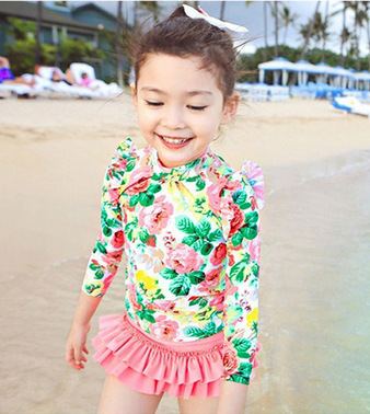 Children's Swimwear Baby Girls Princess Swimsuit F Two-Piece Long-Sleeve Women's Sun-Protection GIRL'S Swimming Suit