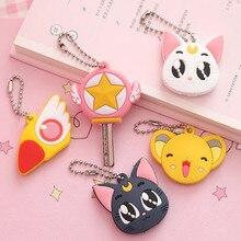 Funda para llaves de Sailor Moon, insignia de Cosplay de gato y Luna, Captor de tarjetas Sakura, dibujos animados, regalo de Dama