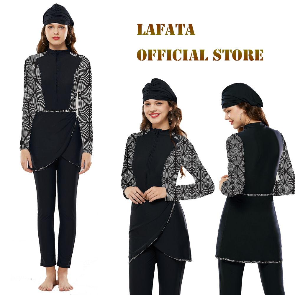 LAFATA Women Full Coverage Muslim Swimwear Islamic Swimsuit Beach Modest Swimsuits image