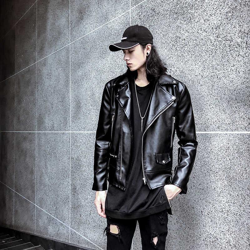 2019 Осень Новый стиль Hong Kong стиль Висячие повседневные Вышивка кожа дикая Свободная куртка мужская