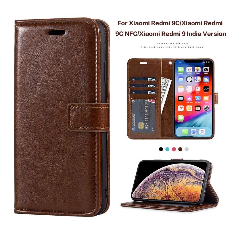 Étui à rabat en cuir pour Xiaomi Redmi 9C Redmi 9C NFC étui en Silicone housse de portefeuille pour Xiaomi Redmi 9 inde Version Business Case   AliExpress
