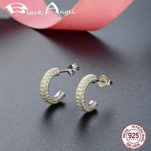Authentic 925 Sterling Silver Zircon Alphabet C Design Stud Earrings for Women Luxury Wedding Fine Jewelry real 925 sterling silver alphabet o zircon pendant necklaces for women cz geometric wedding fine jewelry