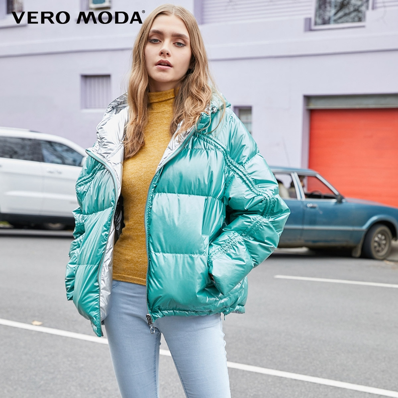 Vero Moda New Women's Glossy Fabric Drawstring Double-faced Hooded Down Jacket   319423524