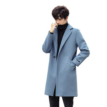 Korean Style England Style Mens Coat 2019 Autumn Winter slim fit casual thicken Turn Down Collar Solid  Color Woolen coat Jacket