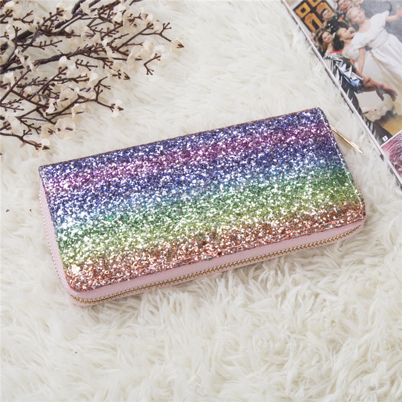 Fashion Women's Designer Style Glitter Long Purse Girls Sparkly Sequin Wallet