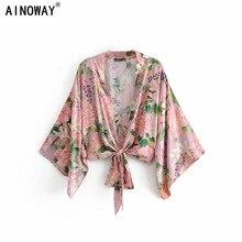 Blusa informal con mangas de murciélago para mujer, Kimono bohemio Vintage con estampado Floral y fajas, cuello de pico