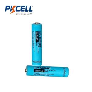 Image 1 - 2 pces pkcell 10440 bateria 3.7v 350mah icr 10440 aaa bateria de lítio recarregável li ion baterias bateria baterias botão superior