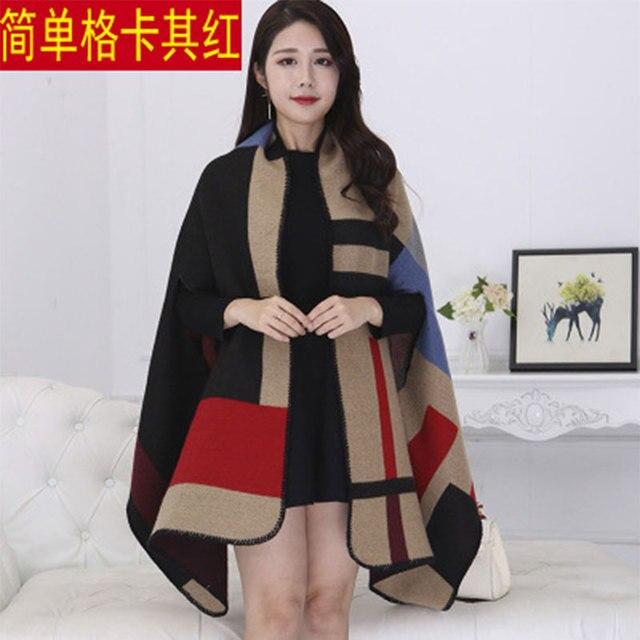 New 2020 Thick Winter Women's Poncho Travel Shawls Scarves Female Cashmere Capes Cloak Bandana Hijab Foulard Femme Pashmina 6