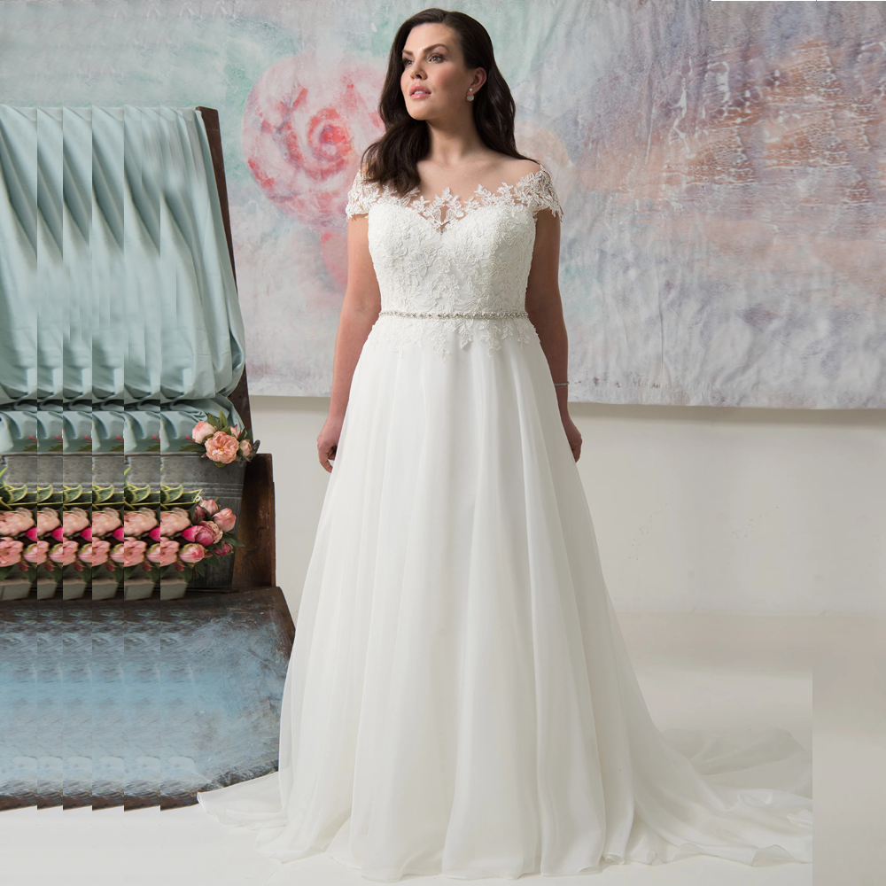 Elegant Plus Size Wedding Gowns Scoop Cap Sleeves Beaded Chiffon Bridal Dress With Appliques Vestido De Novia