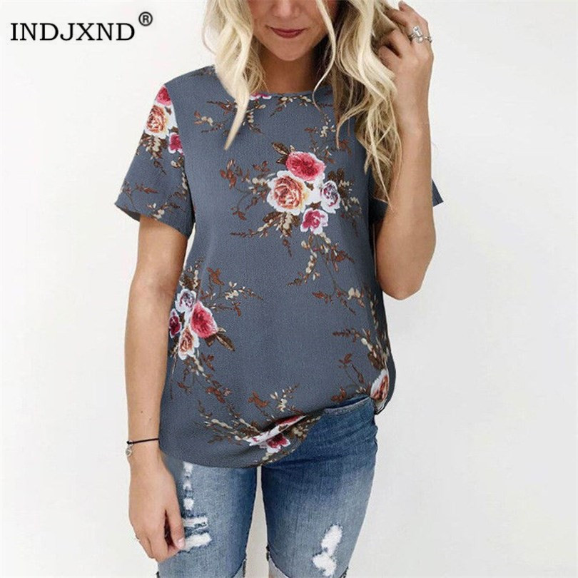 INDJXND New Arrival Summer   Blouse   Women Tops Floral Print   Shirts   Elegant Casual Short Sleeve Boho Beach Loose Blusas Femininas