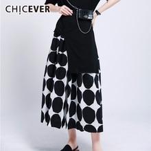 CHICEVER Dot Hit Color Women's Skirt High Waist Tunic Pocket Loose Casual Midi S