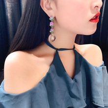 Fashion Fabric Flower Drop Earrings For Women Statement Colorful Petal Circle Big Fancy Earring Jewelry