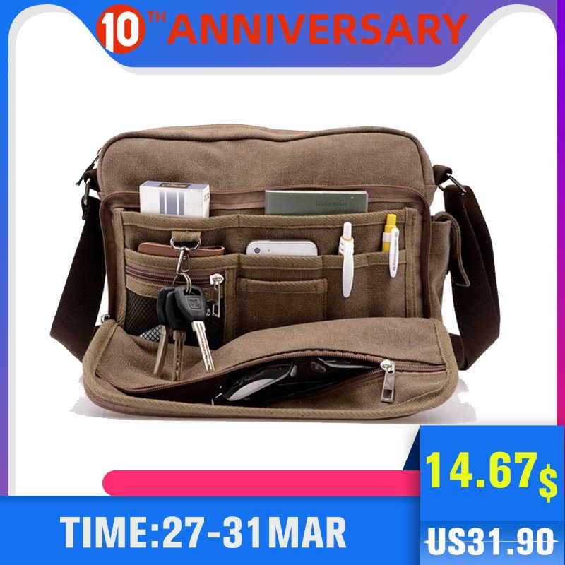 Scione Canvas Multifunction Messenger Shoulder Bag Solid Briefcases Suitcase Card Pocket For Men Women Office Outdoor Travel Bag