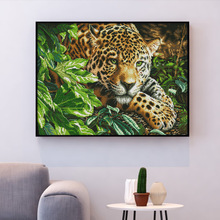 Needlework-Sets Cross-Stitch Embroidery Canvas Animal Home-Decor White HUACAN 14CT Leopard