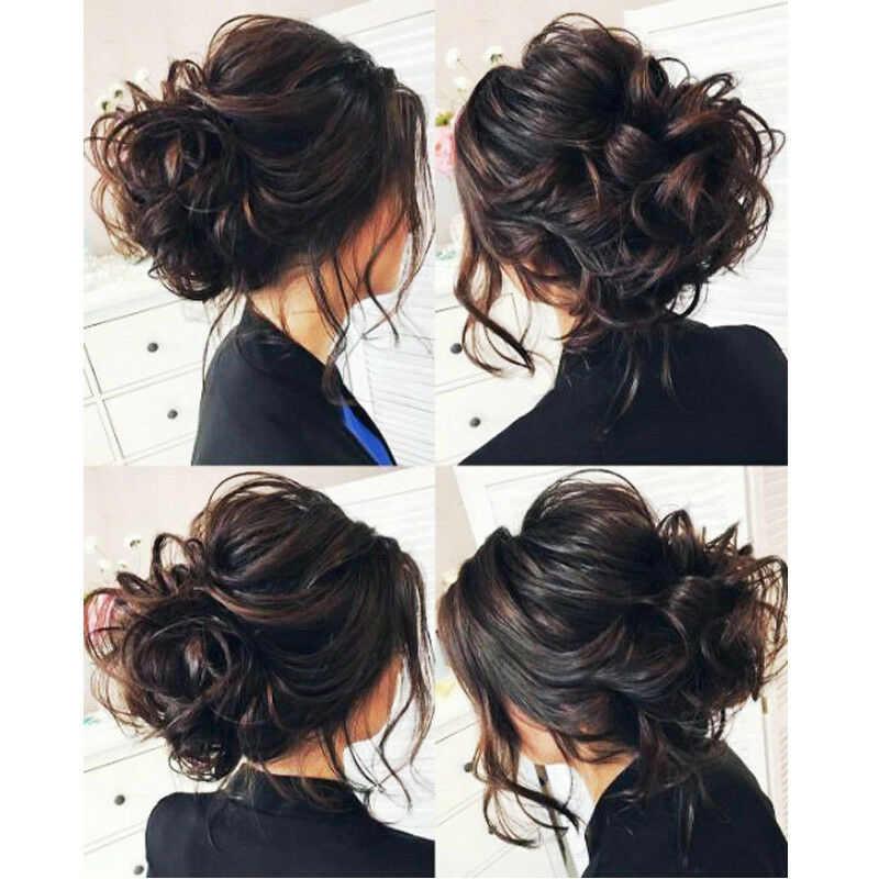 Extensiones de moño de pelo ondulado rizado desordenado largo scrunchy moño para el cabello pieza peluca Cola de Caballo TY99