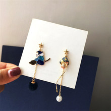 NEW Fashion Lovely Tong qu Witch Magic Pearl Earring Qiu Dong MAO Qiu Asymmetric Earrings Girl Long Earrings