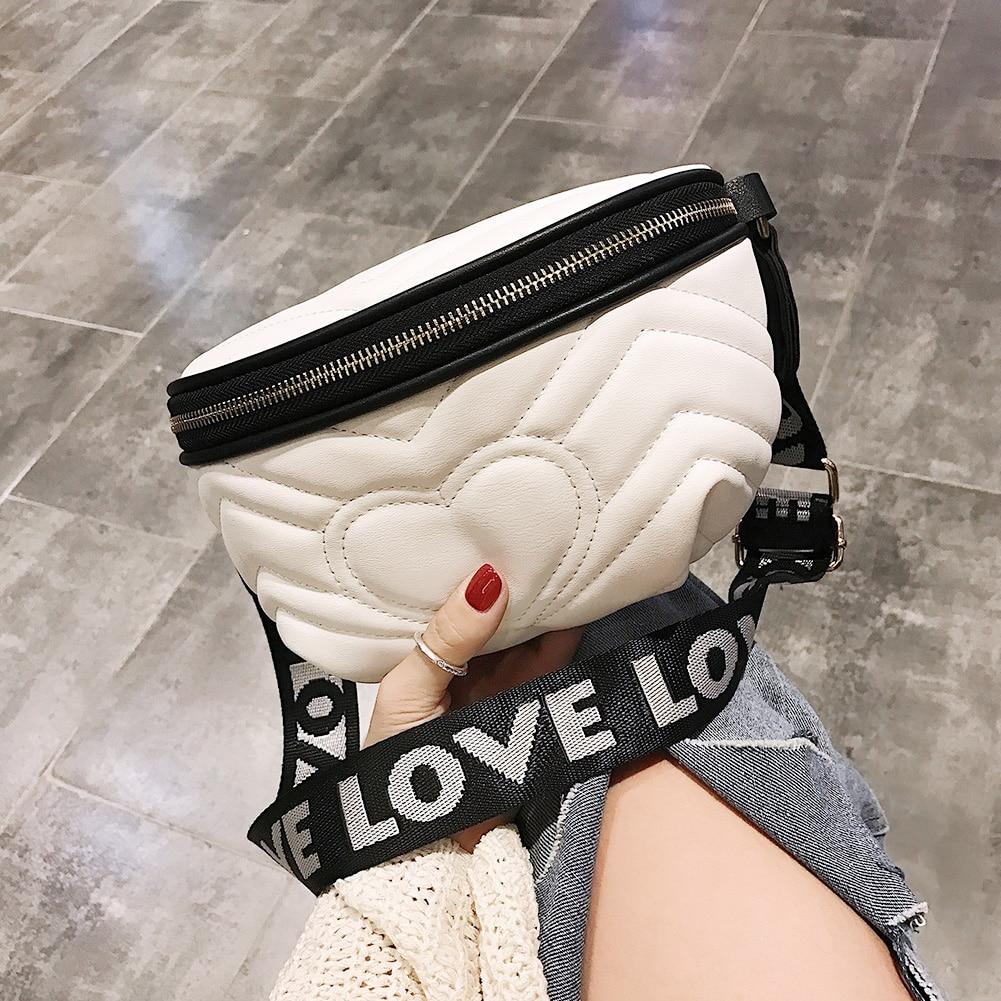 Solid Color Love Heart Decor Women Waist Bag PU Leather Crossbody Shoulder Bag Chest Bags Fashion Ladies Fanny Pack Belt Bag