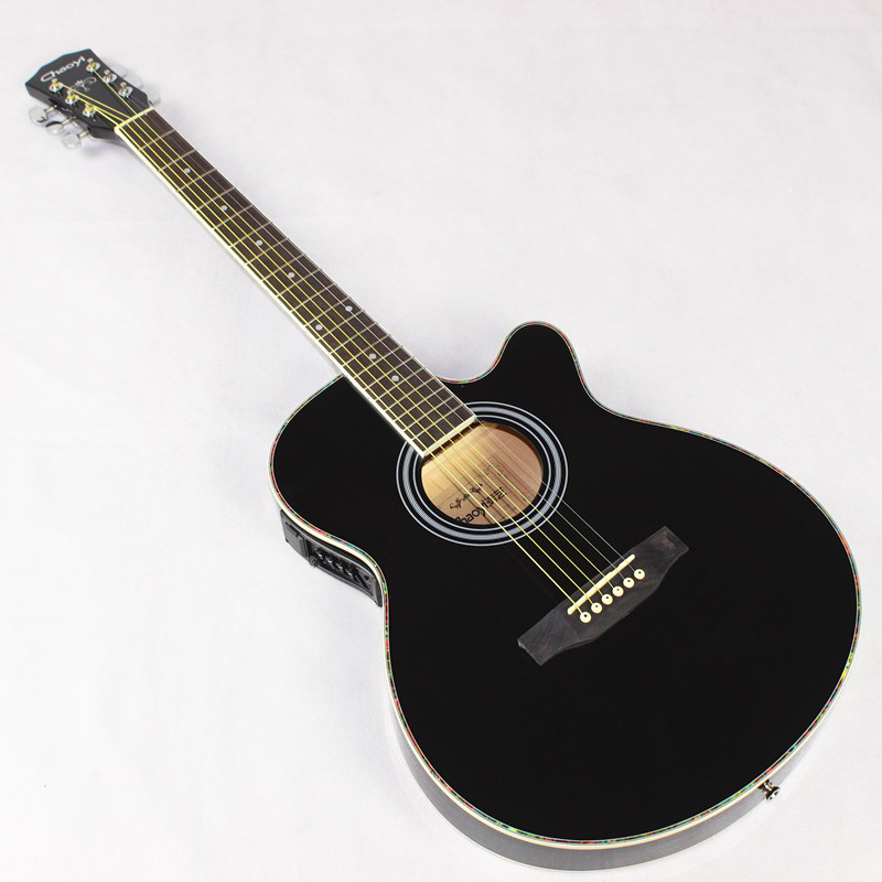 Folk Guitar Wood Guitar 40-Inch Electric Box Ultra-Thin Barrel Body Black Jita Guitar EQ Guitar image