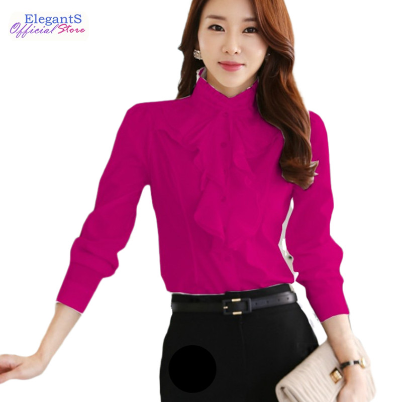 Fashion Design Women Chiffon White Blouses and Tops Long Sleeved Ruffles Stand Collar Autumn Winter 2021 Plus Size Shirts Female 1