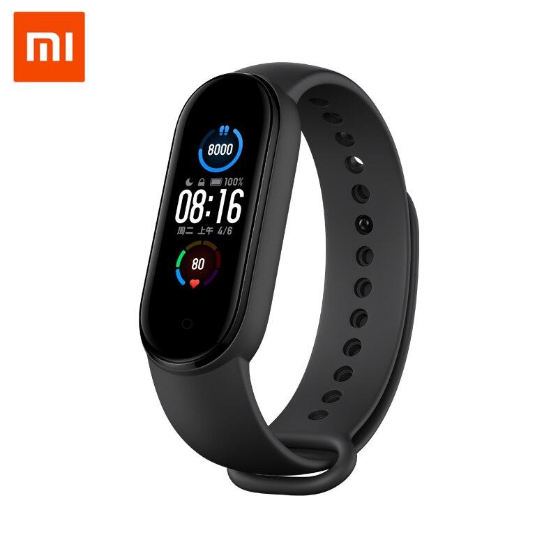 """Xiaomi inteligente pulseira original mi band 5, 4 cores, tela amoled 1.1 """", medidor de batimentos cardíacos, monitoramento de fitness, bluetooth 5.0, à prova d água miband5"""
