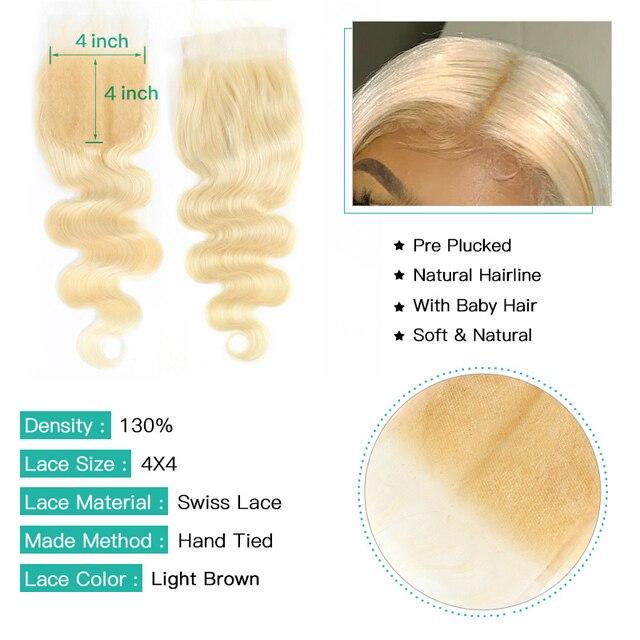 Extensiones de cabello humano Monstar con cierre de 5x5 cabello brasileño tejido Cierre de encaje con 2 3 4 paquetes Remy 613 Paquete de onda de cuerpo Rubio