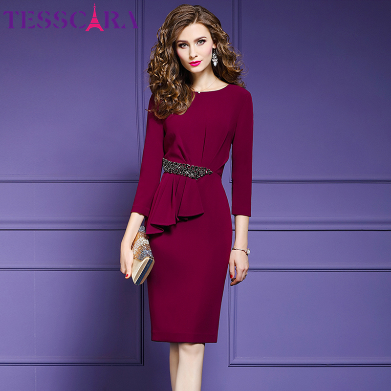 Tesscara mulheres outono elegante miçangas escritório lápis vestido festa feminino robe femme vintage plissado designer vestidos