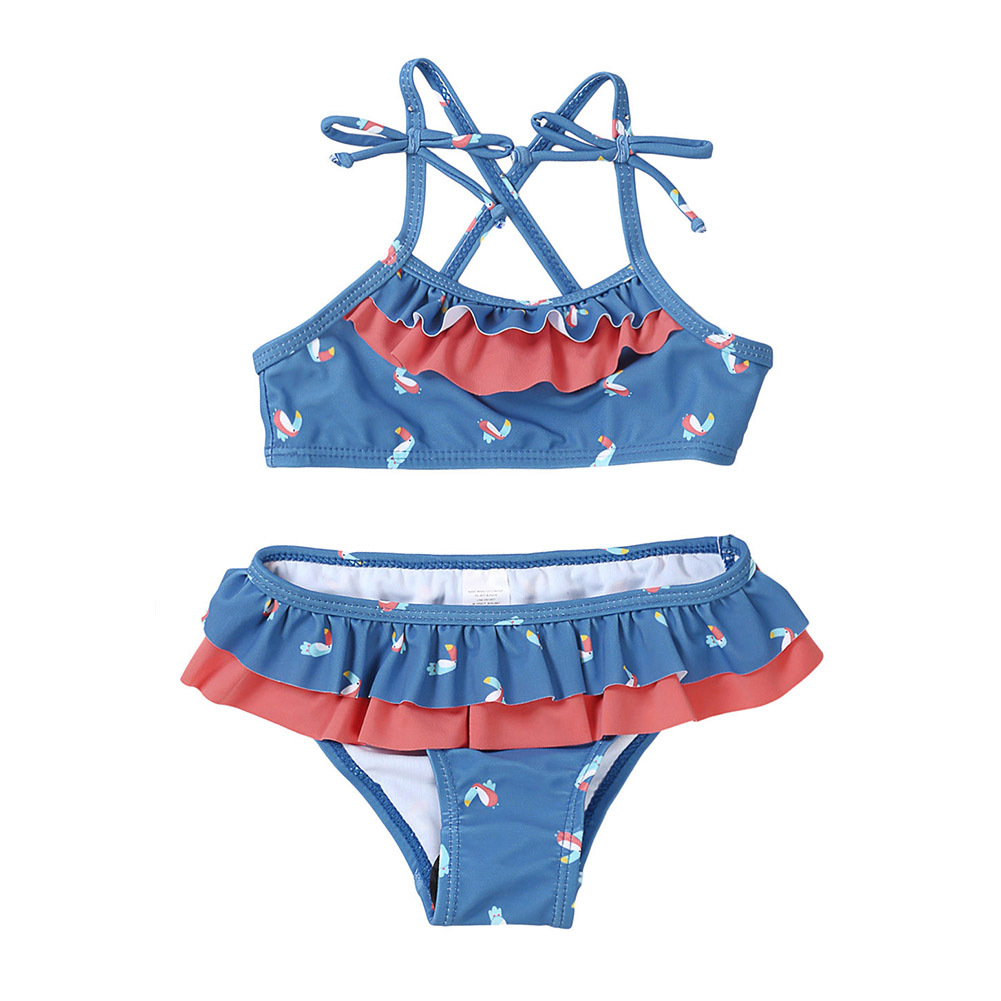 Pa Meng KID'S Swimwear GIRL'S Split Type Girls Big Boy Printed Hot Springs Pleated Bikini TZ410044
